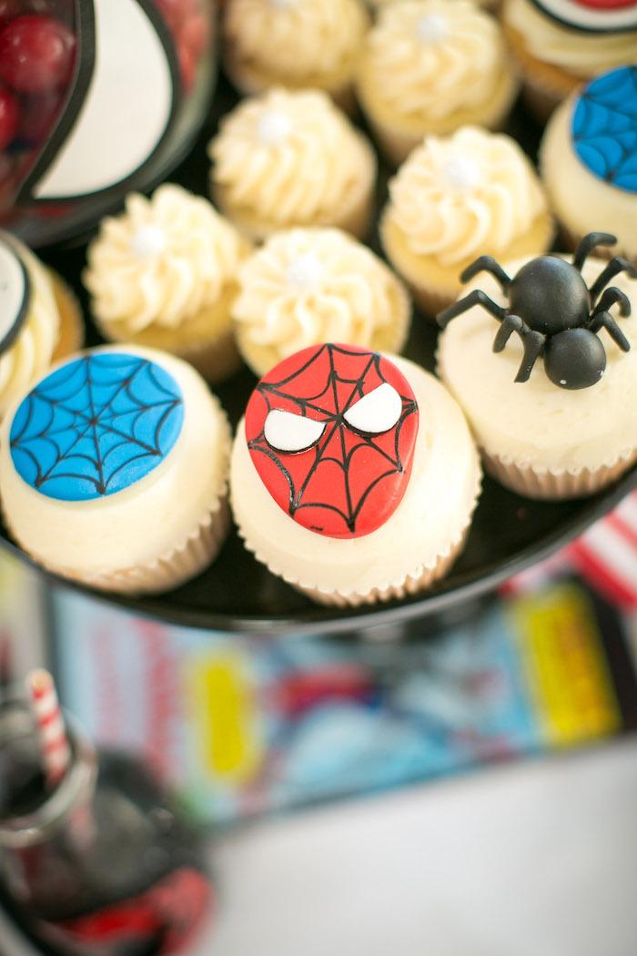 Spider Man cupcakes from a Spectacular Spider Man Birthday Party on Kara's Party Ideas | KarasPartyIdeas.com (29)