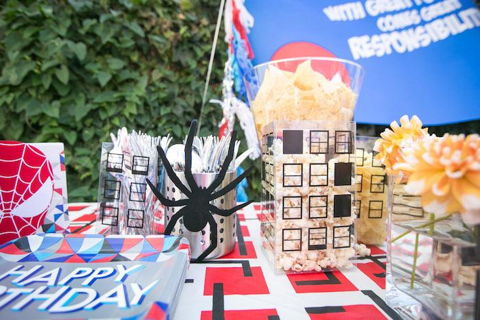 Cityscape snack bar from a Spectacular Spider Man Birthday Party on Kara's Party Ideas | KarasPartyIdeas.com (26)