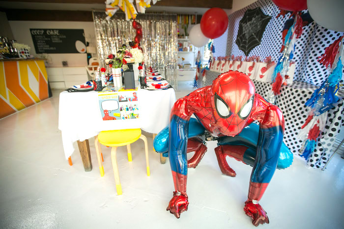 Spider Man partyscape from a Spectacular Spider Man Birthday Party on Kara's Party Ideas | KarasPartyIdeas.com (24)