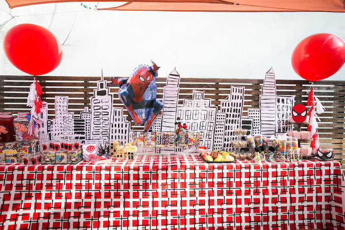 Spider Man food table from a Spectacular Spider Man Birthday Party on Kara's Party Ideas | KarasPartyIdeas.com (23)
