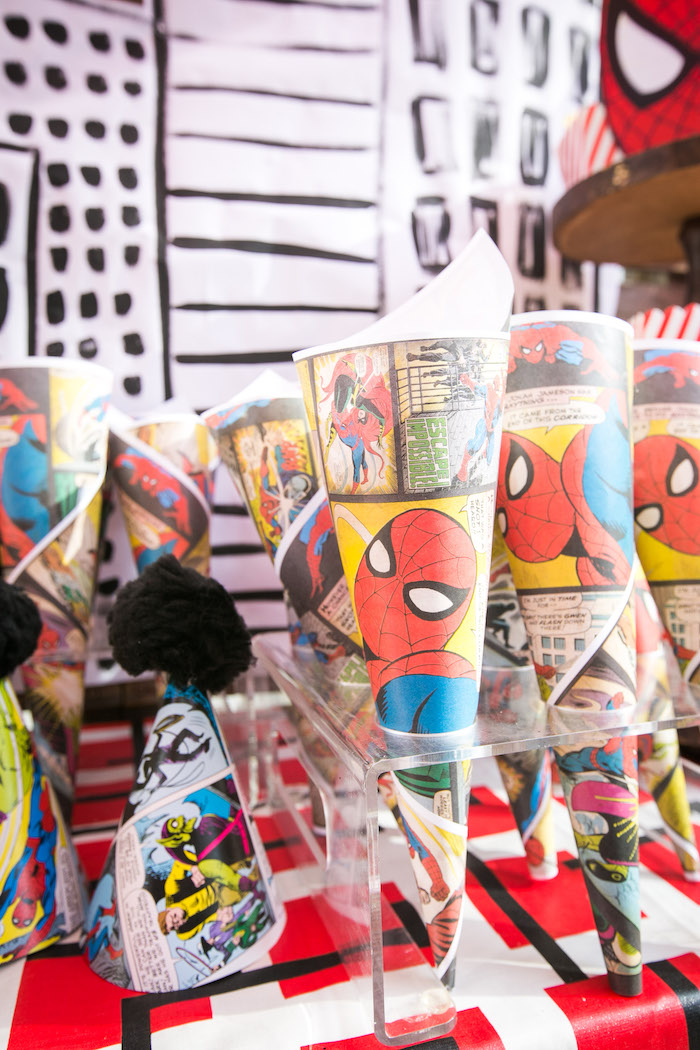 Spider Man snack cones from a Spectacular Spider Man Birthday Party on Kara's Party Ideas | KarasPartyIdeas.com (22)