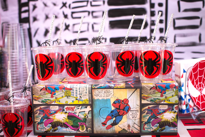 Spider Man cups from a Spectacular Spider Man Birthday Party on Kara's Party Ideas | KarasPartyIdeas.com (18)