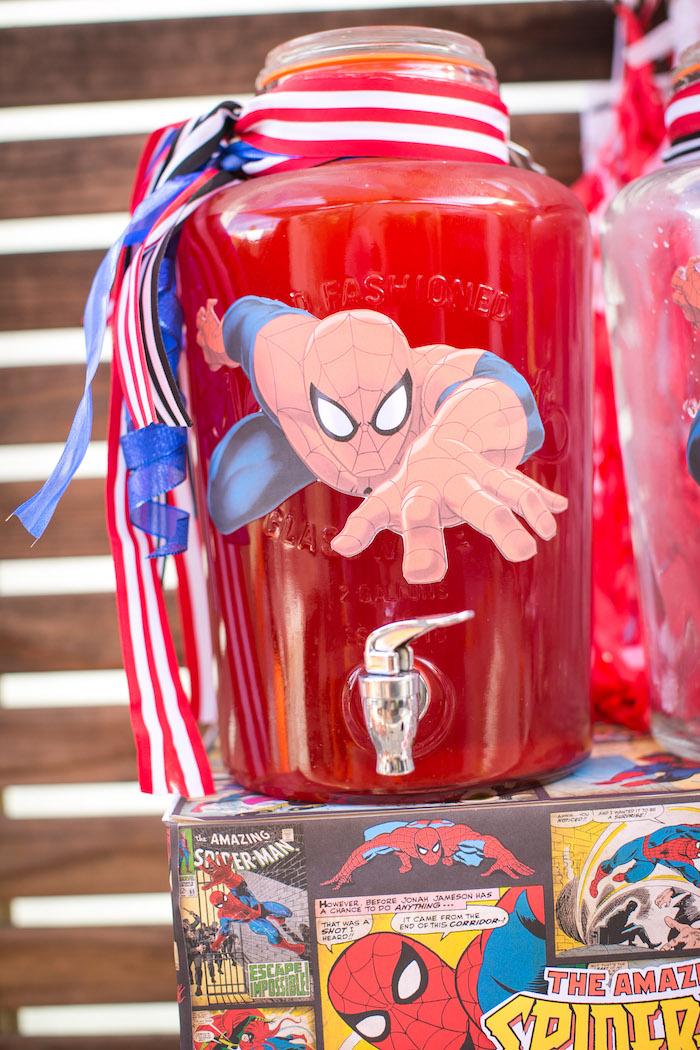 Spider Man beverage dispenser from a Spectacular Spider Man Birthday Party on Kara's Party Ideas | KarasPartyIdeas.com (17)