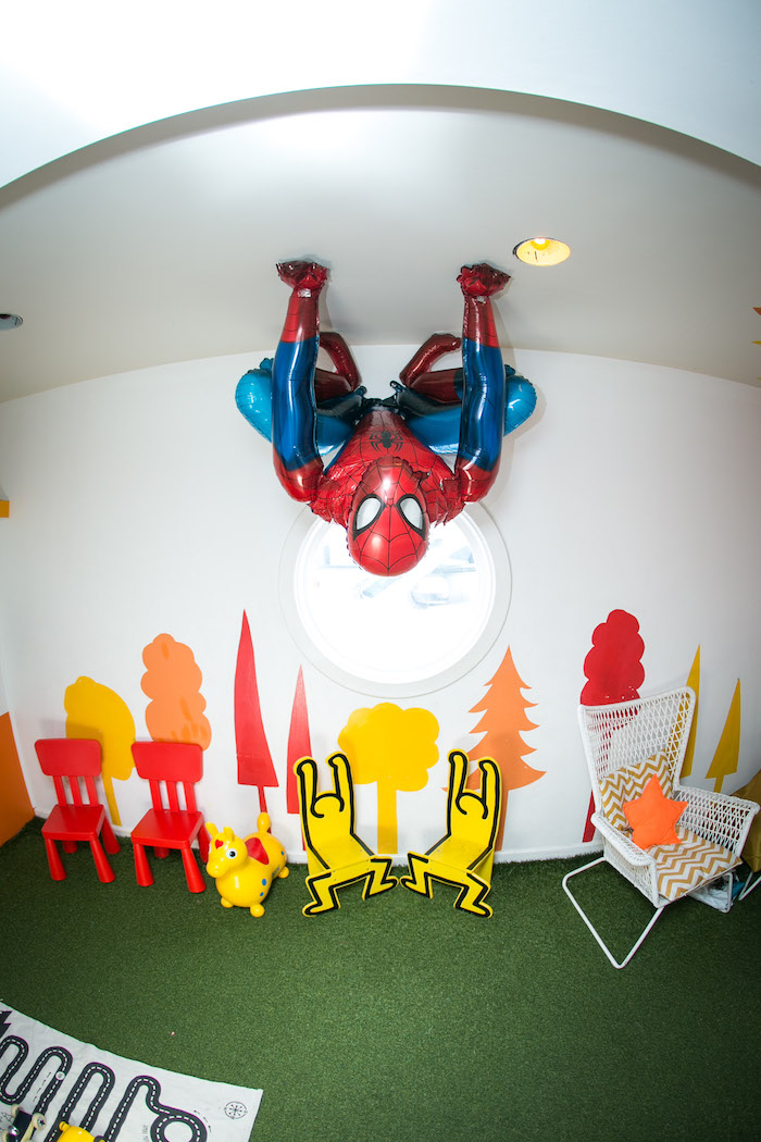Hanging Spider Man from a Spectacular Spider Man Birthday Party on Kara's Party Ideas | KarasPartyIdeas.com (16)
