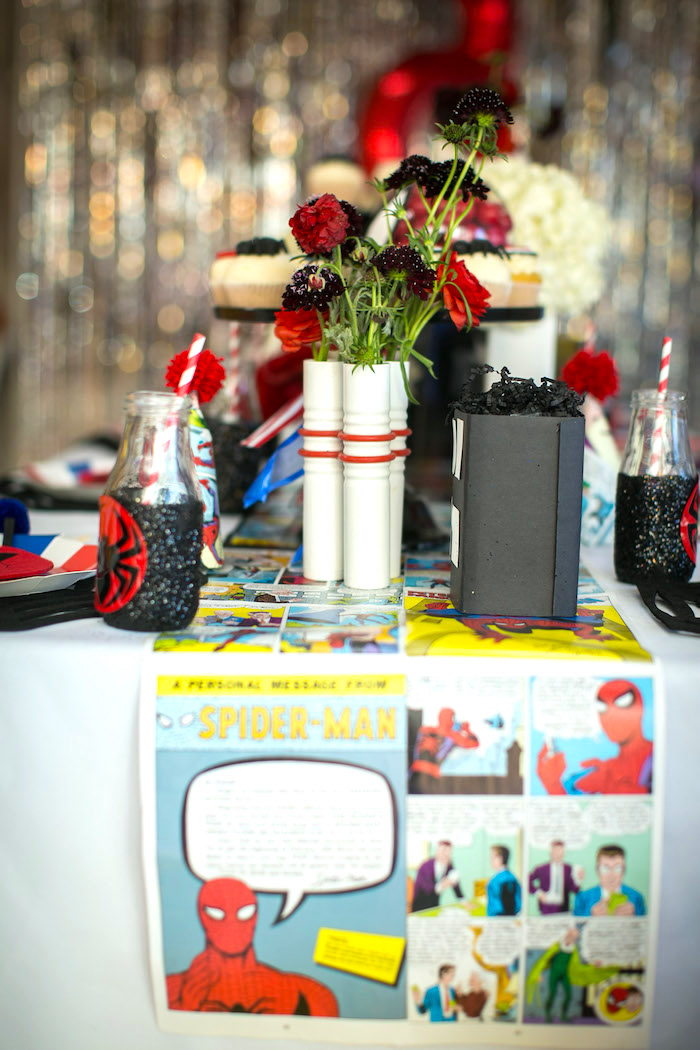 Spider Man table from a Spectacular Spider Man Birthday Party on Kara's Party Ideas | KarasPartyIdeas.com (12)