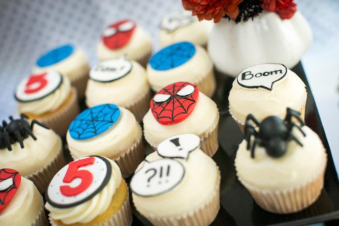 Spider Man cupcakes from a Spectacular Spider Man Birthday Party on Kara's Party Ideas | KarasPartyIdeas.com (11)