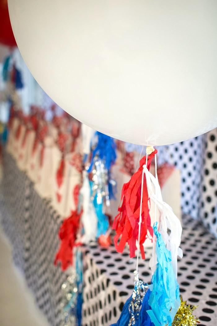 Balloon tassel from a Spectacular Spider Man Birthday Party on Kara's Party Ideas | KarasPartyIdeas.com (9)