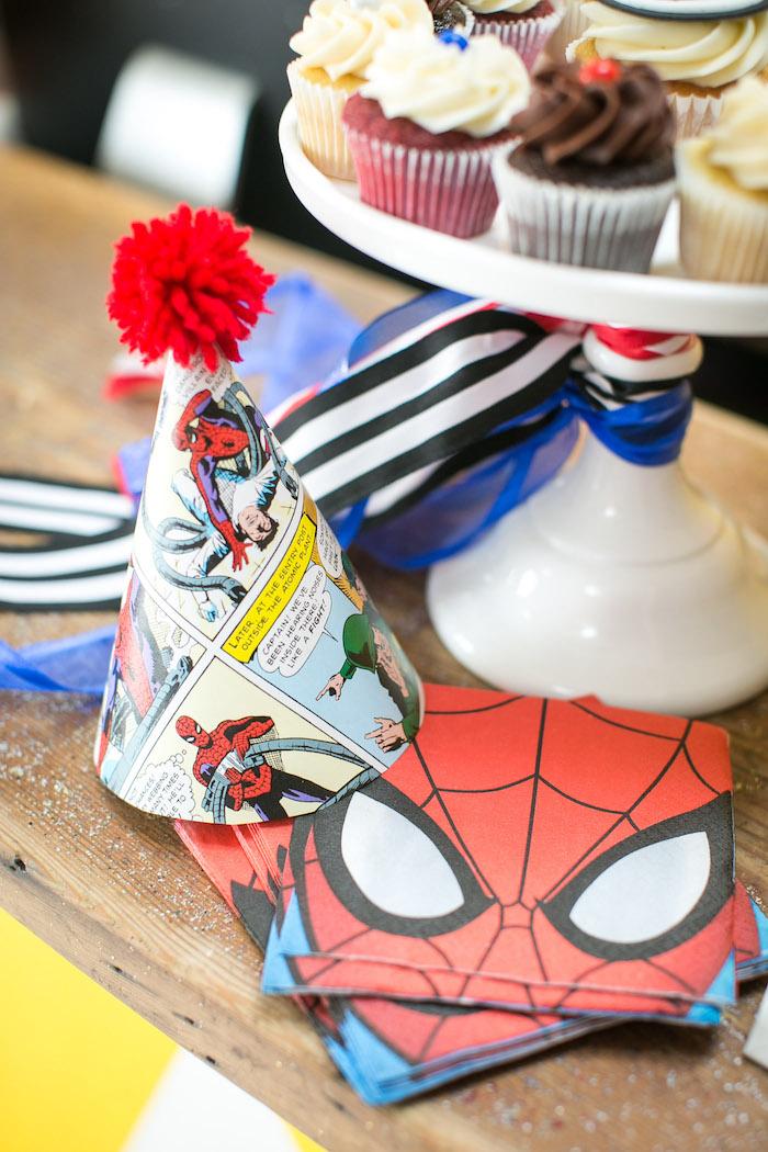 Pom pom Spider Man party hat from a Spectacular Spider Man Birthday Party on Kara's Party Ideas | KarasPartyIdeas.com (7)