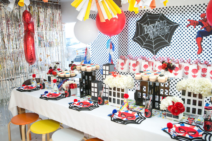 Spider Man guest table from a Spectacular Spider Man Birthday Party on Kara's Party Ideas | KarasPartyIdeas.com (6)