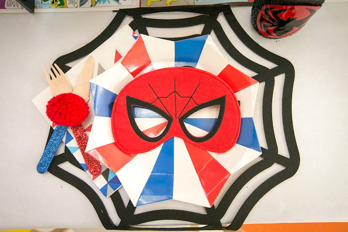 Spider Man place setting from a Spectacular Spider Man Birthday Party on Kara's Party Ideas | KarasPartyIdeas.com (36)