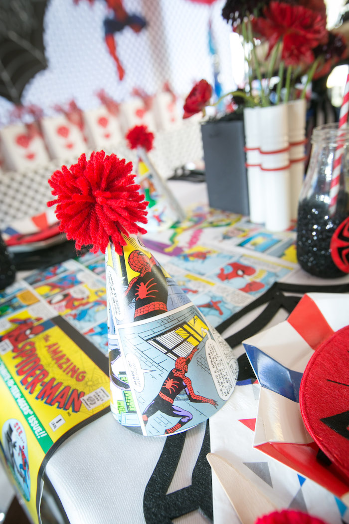 Spider Man party hat from a Spectacular Spider Man Birthday Party on Kara's Party Ideas | KarasPartyIdeas.com (35)