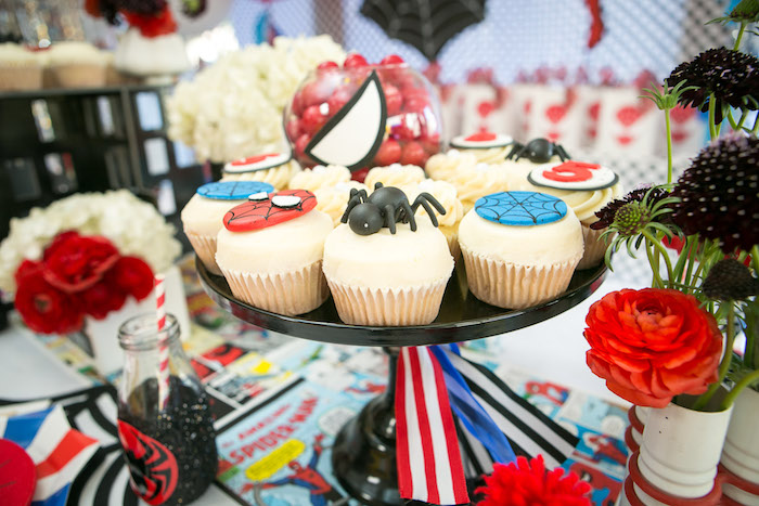 Cupcakes from a Spectacular Spider Man Birthday Party on Kara's Party Ideas | KarasPartyIdeas.com (34)