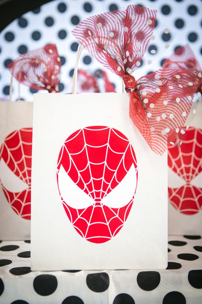 Spider Man favor bag from a Spectacular Spider Man Birthday Party on Kara's Party Ideas | KarasPartyIdeas.com (33)