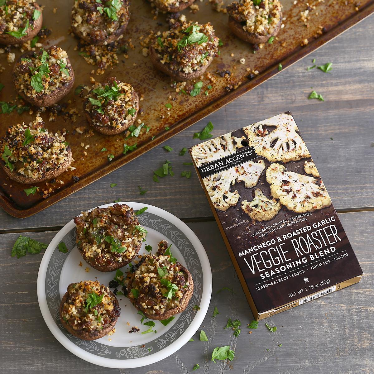 Manchego and Sausage Stuffed Mushrooms Recipe via Kara's Party Ideas