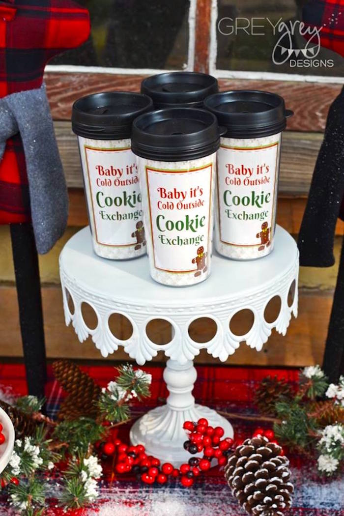 Hot cocoa cups from a Sweater Weather Holiday Cookie Exchange Party on Kara's Party Ideas | KarasPartyIdeas.com (26)