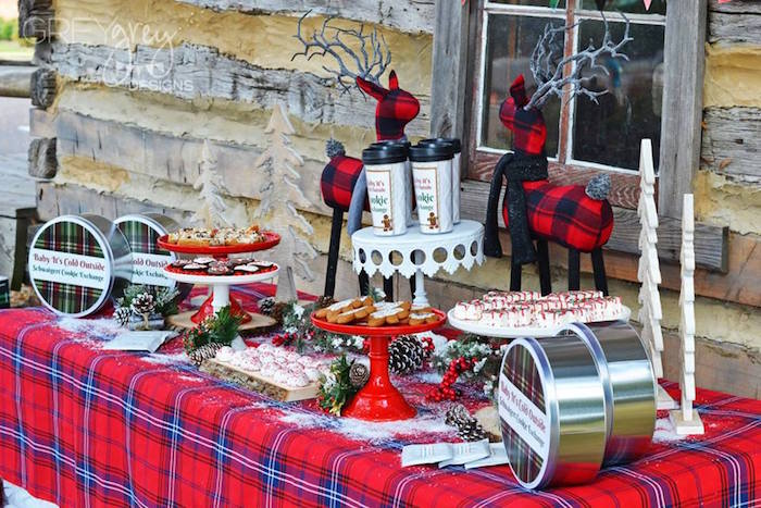 Rustic plaid party table from a Sweater Weather Holiday Cookie Exchange Party on Kara's Party Ideas | KarasPartyIdeas.com (17)
