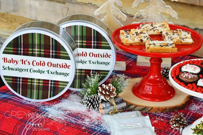 Gingham tins from Sweater Weather Holiday Cookie Exchange Party on Kara's Party Ideas | KarasPartyIdeas.com (15)