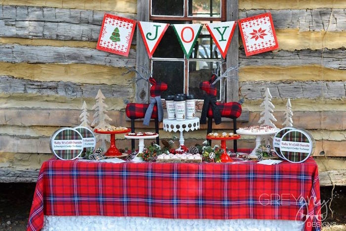 Dessert table from a Sweater Weather Holiday Cookie Exchange Party on Kara's Party Ideas | KarasPartyIdeas.com (11)