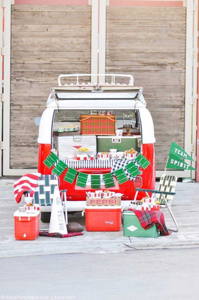 Awesome Tailgating Party in the back of a VW Bus by Kara's Party Ideas | Kara Allen for KFC. The best tailgate party ever!