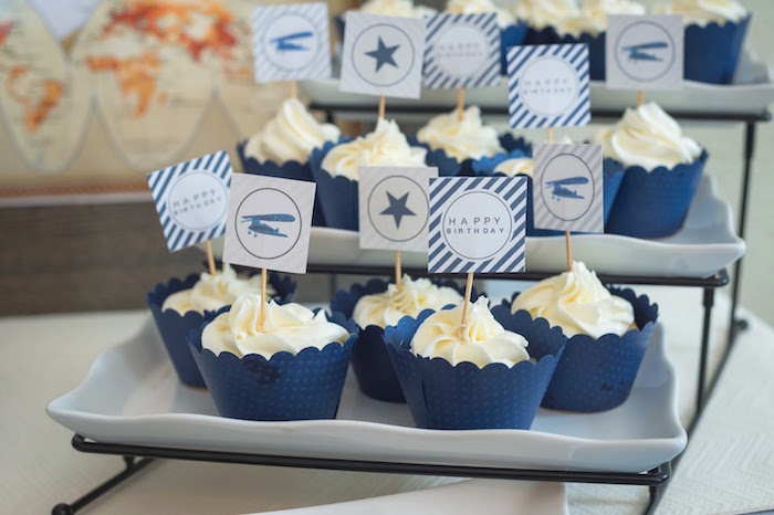 Airplane cupcakes from a Time Flies Vintage Airplane 1st Birthday Party on Kara's Party Ideas | KarasPartyIdeas.com (23)