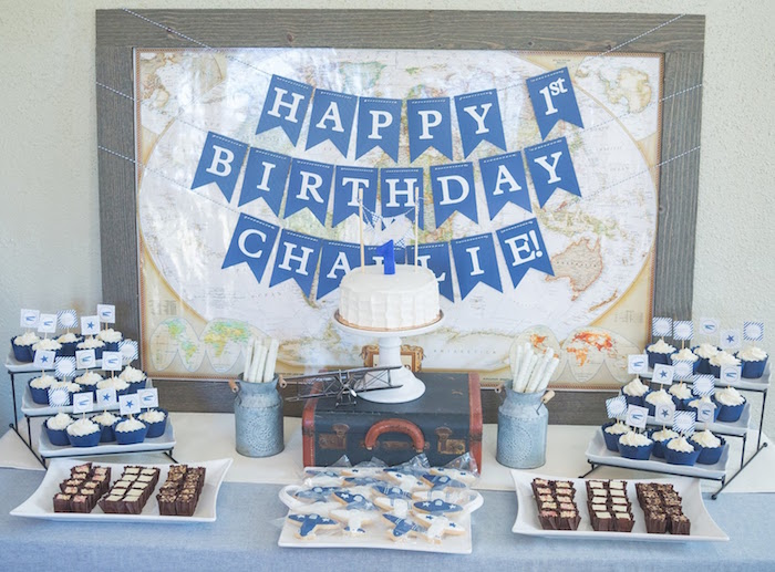 Kara 39 s party ideas time flies vintage airplane 1st for Table design for 1st birthday