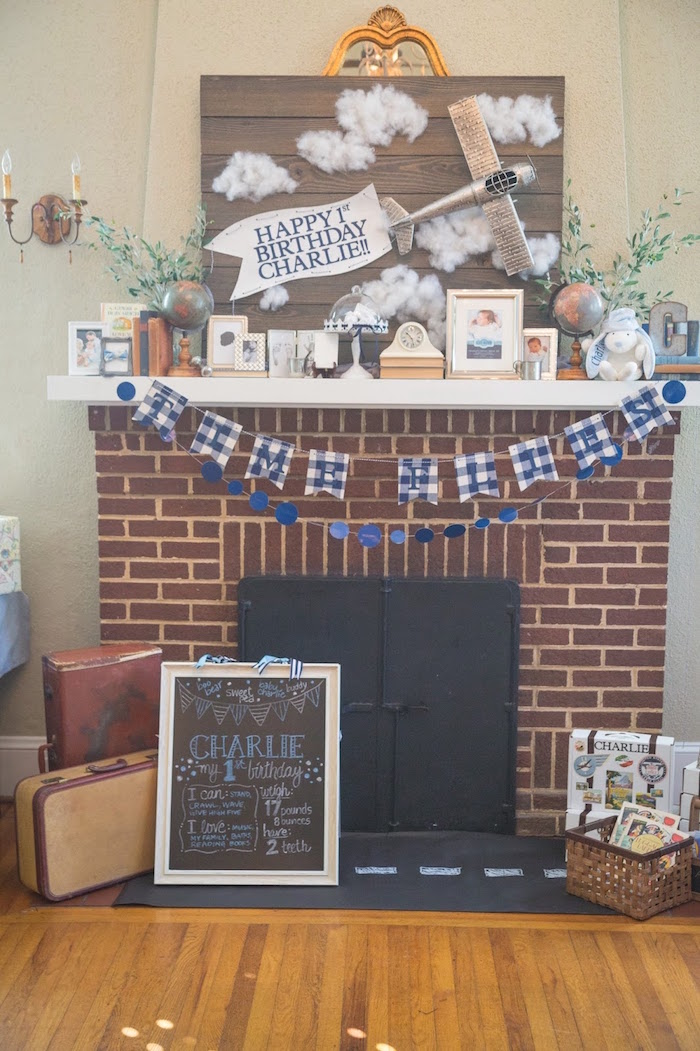 Fireplace decor from a Time Flies Vintage Airplane 1st Birthday Party on Kara's Party Ideas | KarasPartyIdeas.com (14)