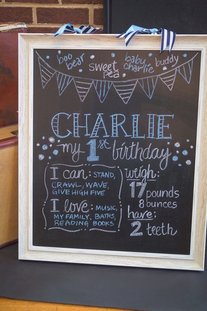 Fact chalkboard from a Time Flies Vintage Airplane 1st Birthday Party on Kara's Party Ideas | KarasPartyIdeas.com (13)