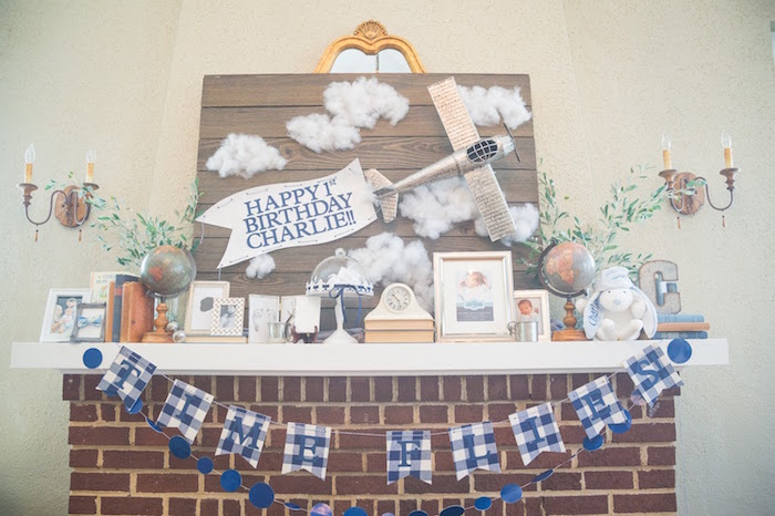 Wood paneled airplane backdrop from a Time Flies Vintage Airplane 1st Birthday Party on Kara's Party Ideas | KarasPartyIdeas.com (12)