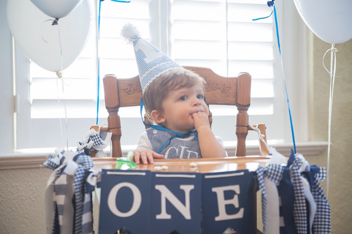 Party hat & high chair banner from a Time Flies Vintage Airplane 1st Birthday Party on Kara's Party Ideas | KarasPartyIdeas.com (7)