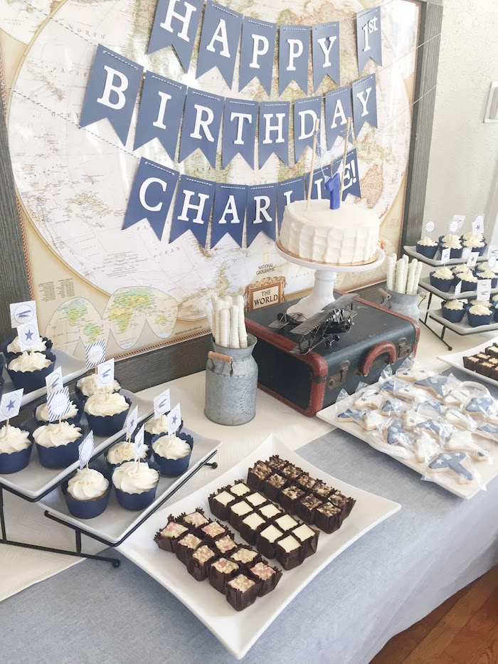 Dessert table from a Time Flies Vintage Airplane 1st Birthday Party on Kara's Party Ideas | KarasPartyIdeas.com (6)