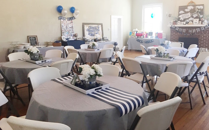 Blue & white guest tables from a Time Flies Vintage Airplane 1st Birthday Party on Kara's Party Ideas | KarasPartyIdeas.com (5)