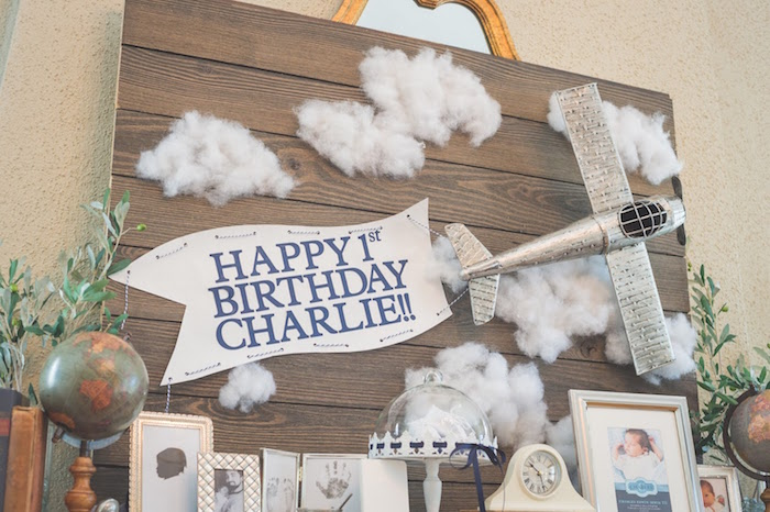 Vintage flying airplane backdrop from a Time Flies Vintage Airplane 1st Birthday Party on Kara's Party Ideas | KarasPartyIdeas.com (31)