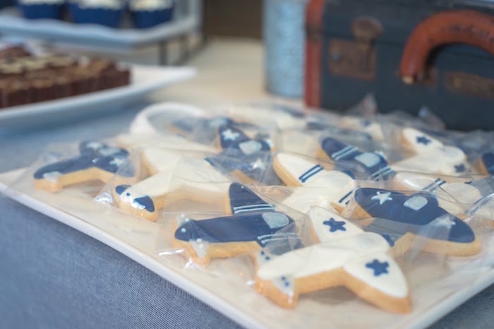 Airplane cookies from a Time Flies Vintage Airplane 1st Birthday Party on Kara's Party Ideas | KarasPartyIdeas.com (28)
