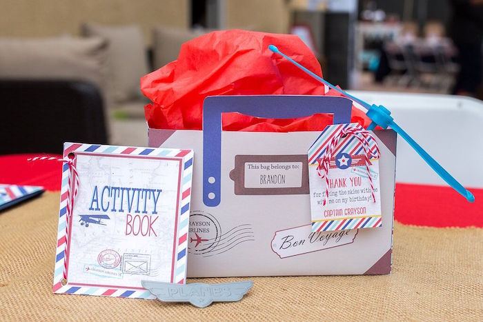 Activity book & vintage suitcase favor box from a Vintage Airplane Birthday Party on Kara's Party Ideas | KarasPartyIdeas.com (70)