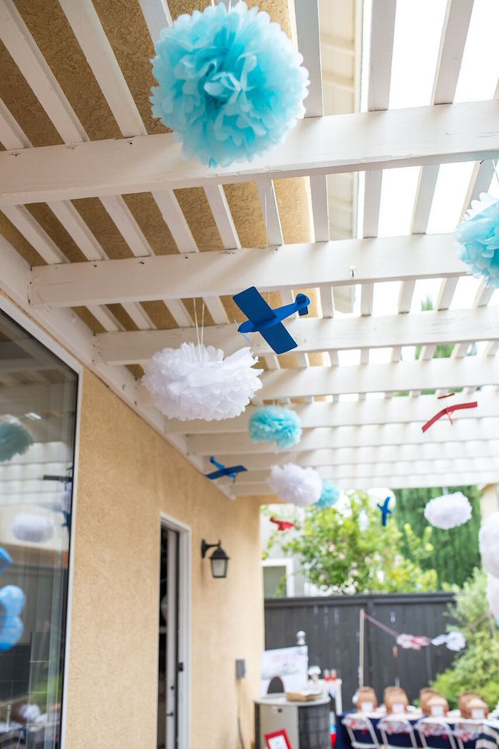 Overhead Decor From A Vintage Airplane Birthday Party On Karau0027s Party Ideas  | KarasPartyIdeas.com
