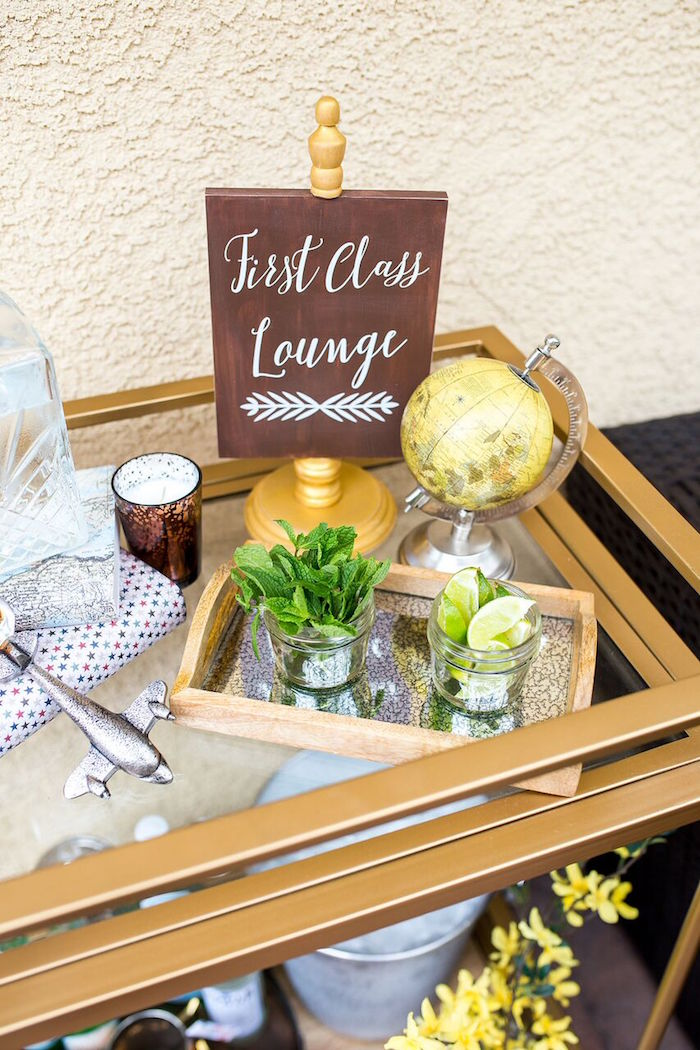 First glass drink cart from a Vintage Airplane Birthday Party on Kara's Party Ideas | KarasPartyIdeas.com (66)