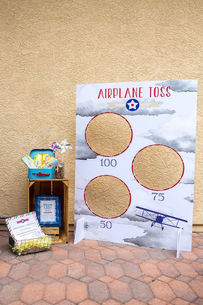 Airplane toss game from a Vintage Airplane Birthday Party on Kara's Party Ideas | KarasPartyIdeas.com (59)