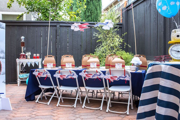 Airplane themed guest table from a Vintage Airplane Birthday Party on Kara's Party Ideas | KarasPartyIdeas.com (51)