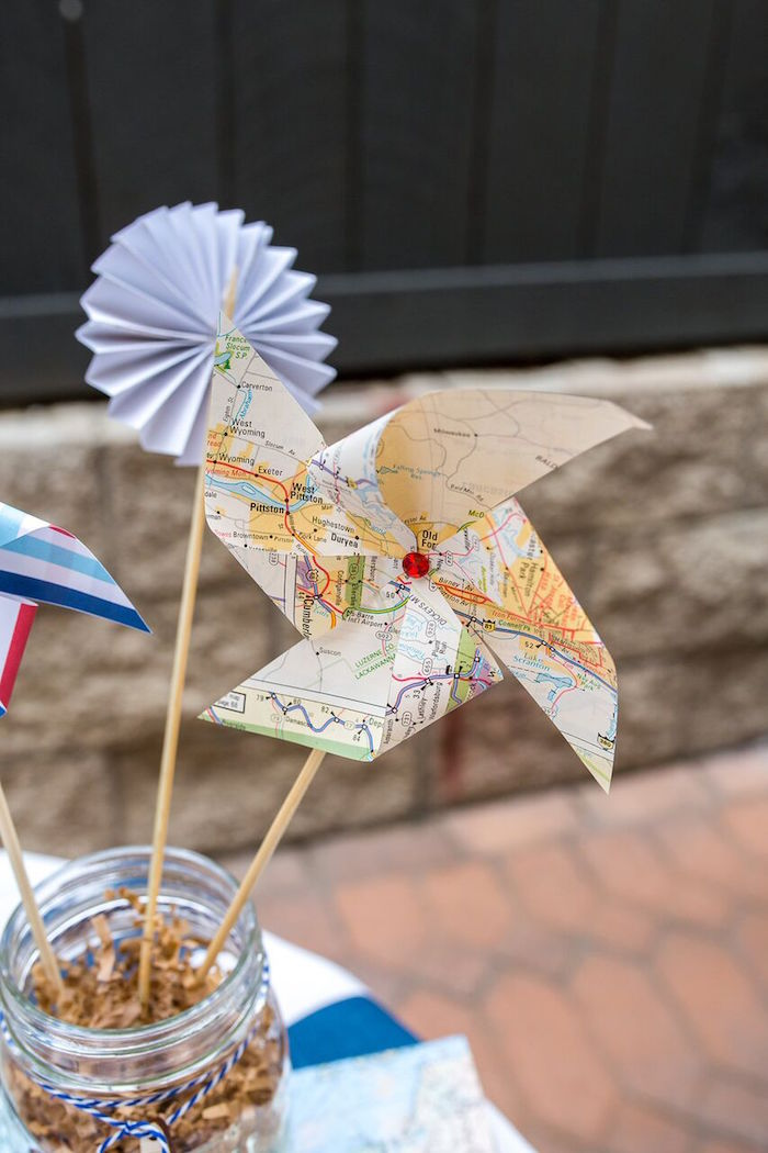 Map pinwheel from a Vintage Airplane Birthday Party on Kara's Party Ideas | KarasPartyIdeas.com (49)