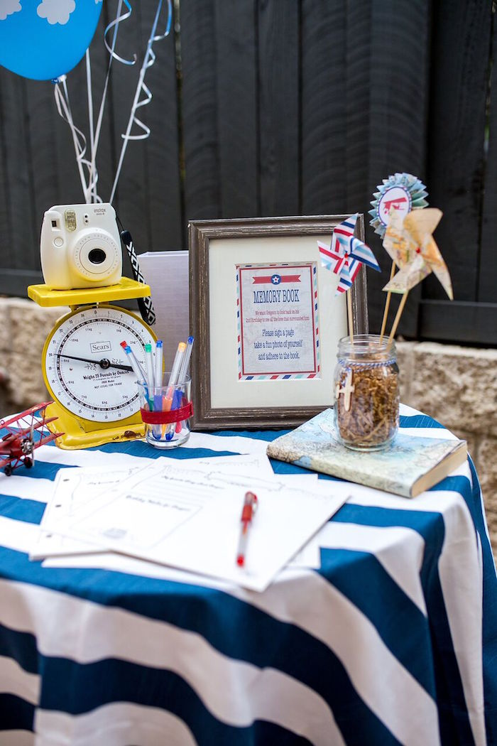 Signing table from a Vintage Airplane Birthday Party on Kara's Party Ideas | KarasPartyIdeas.com (48)