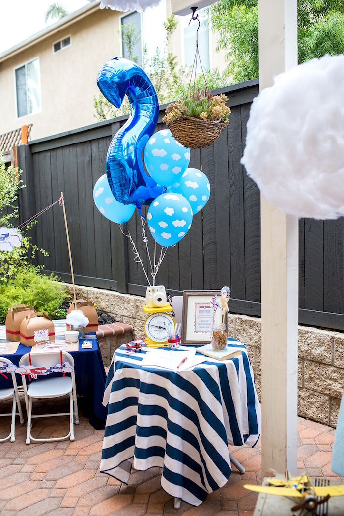 Signing + entrance table from a Vintage Airplane Birthday Party on Kara's Party Ideas | KarasPartyIdeas.com (47)