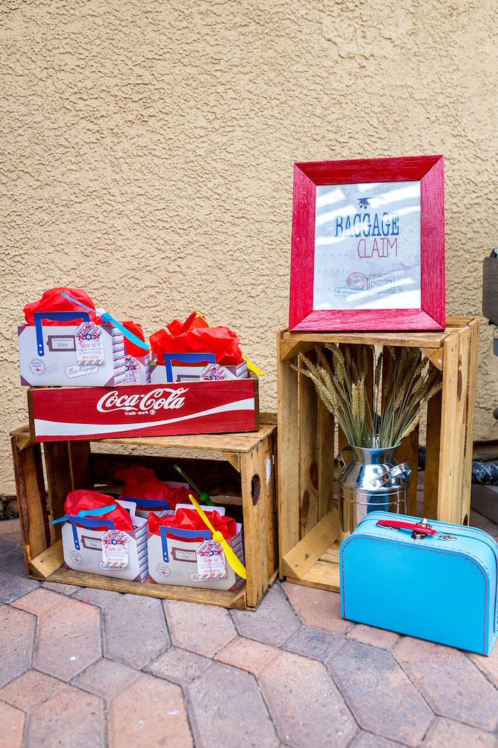 Baggage claim + favors from a Vintage Airplane Birthday Party on Kara's Party Ideas | KarasPartyIdeas.com (44)