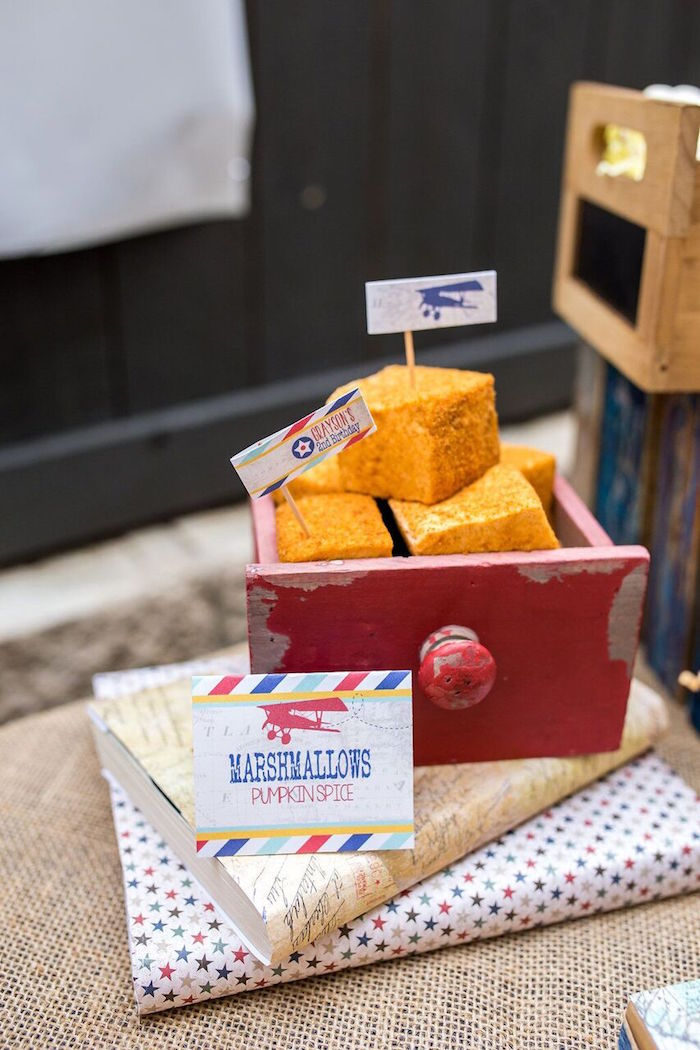 Pumpkin spice marshmallows from a Vintage Airplane Birthday Party on Kara's Party Ideas | KarasPartyIdeas.com (35)
