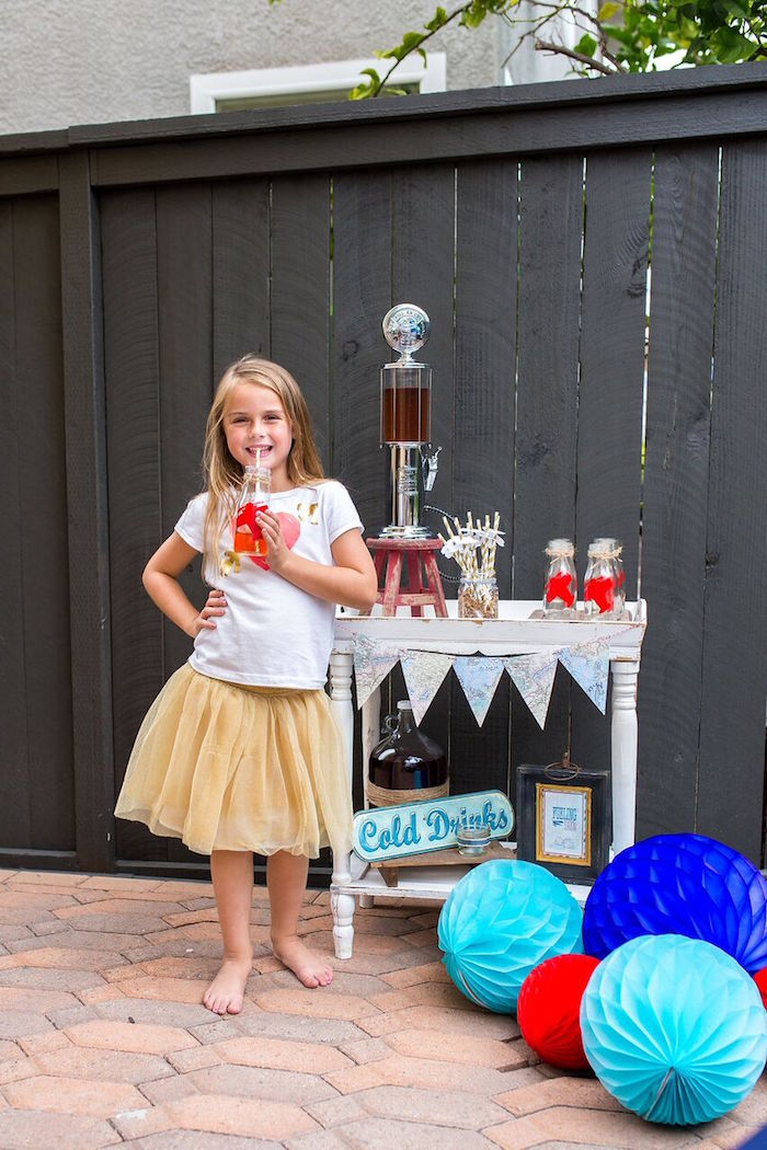 Drink table from a Vintage Airplane Birthday Party on Kara's Party Ideas | KarasPartyIdeas.com (33)
