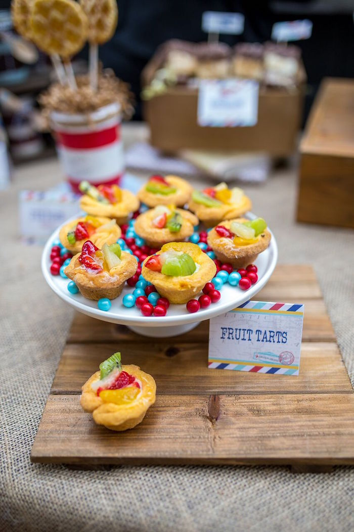 Fruit tarts from a Vintage Airplane Birthday Party on Kara's Party Ideas | KarasPartyIdeas.com (32)