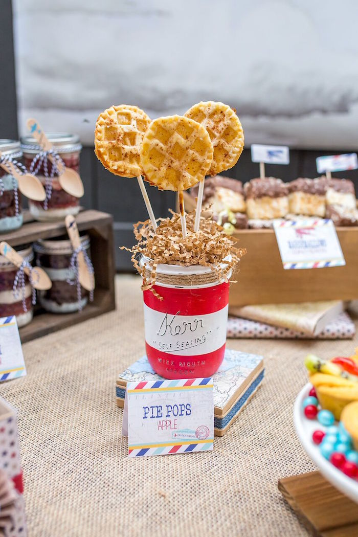 Pie pops from a Vintage Airplane Birthday Party on Kara's Party Ideas | KarasPartyIdeas.com (28)