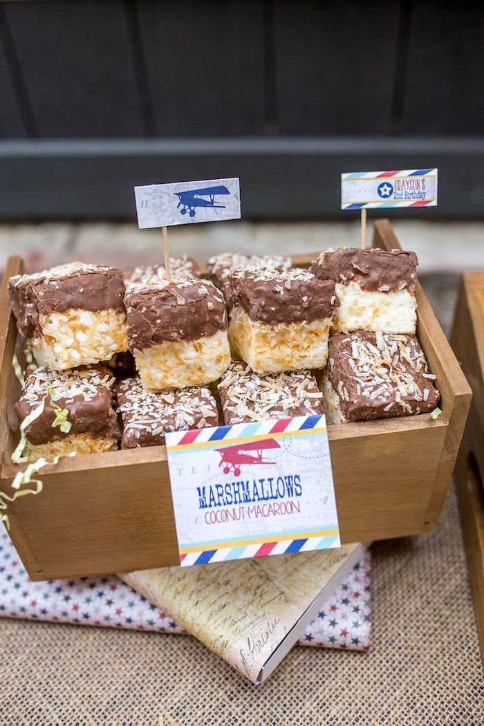 Marshmallow coconut macaroons from a Vintage Airplane Birthday Party on Kara's Party Ideas | KarasPartyIdeas.com (27)