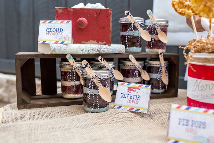 Fly High cake in a jar desserts from a Vintage Airplane Birthday Party on Kara's Party Ideas | KarasPartyIdeas.com (25)