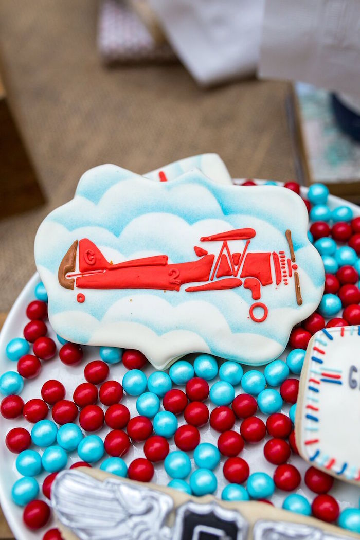 Vintage airplane cookie from a Vintage Airplane Birthday Party on Kara's Party Ideas | KarasPartyIdeas.com (20)