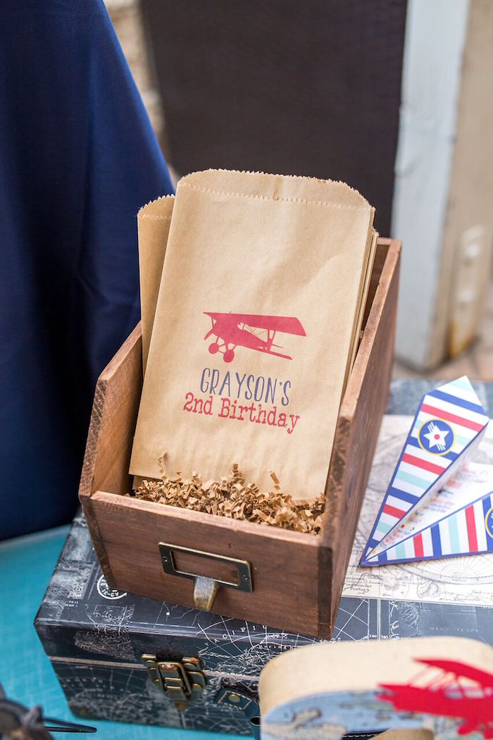 Airplane snack bags from a Vintage Airplane Birthday Party on Kara's Party Ideas | KarasPartyIdeas.com (14)